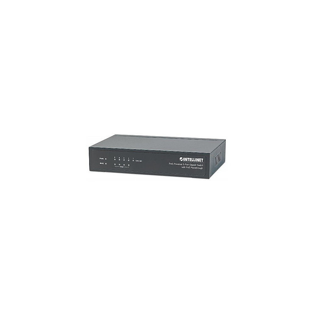 Intellinet 5-Port PoE+ Gigabit Switch mit PoE Passthrough 26W