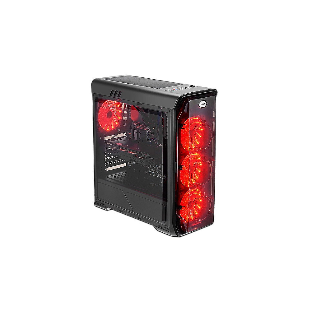 LC-Power Gaming 988B Red Typhoon Midi Tower Gaming Gehäuse mit Seitenfenster