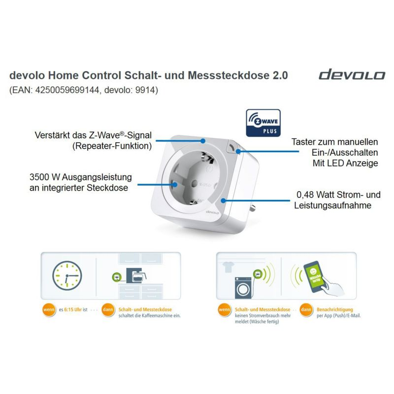 devolo Home Control Schalt- und Messsteckdose V2 (Smart Home, Z Wave, Steckdose)