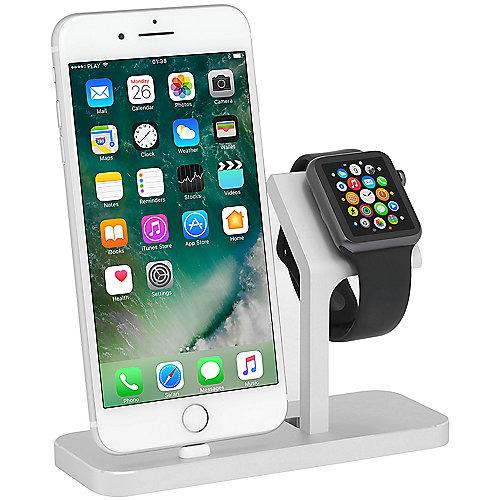StilGut TwinDock für iPhone und Watch silber