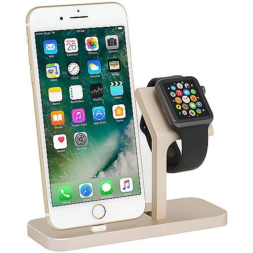 StilGut TwinDock für iPhone und Watch gold