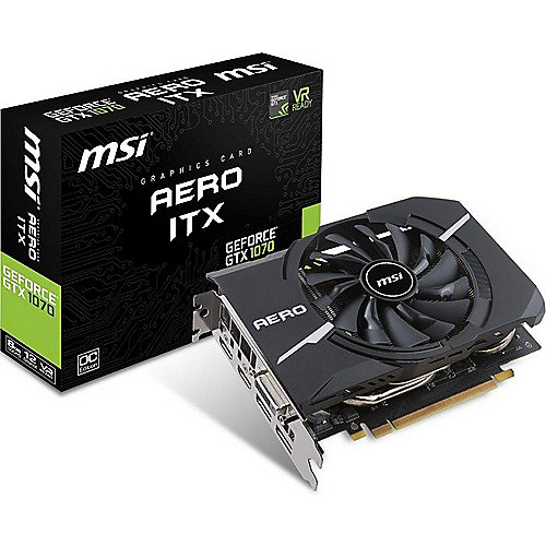 MSI GeForce GTX 1070 Aero ITX OC 8GB GDDR5 Grafikkarte DVI/2xHDMI/2xDP | 4719072509712