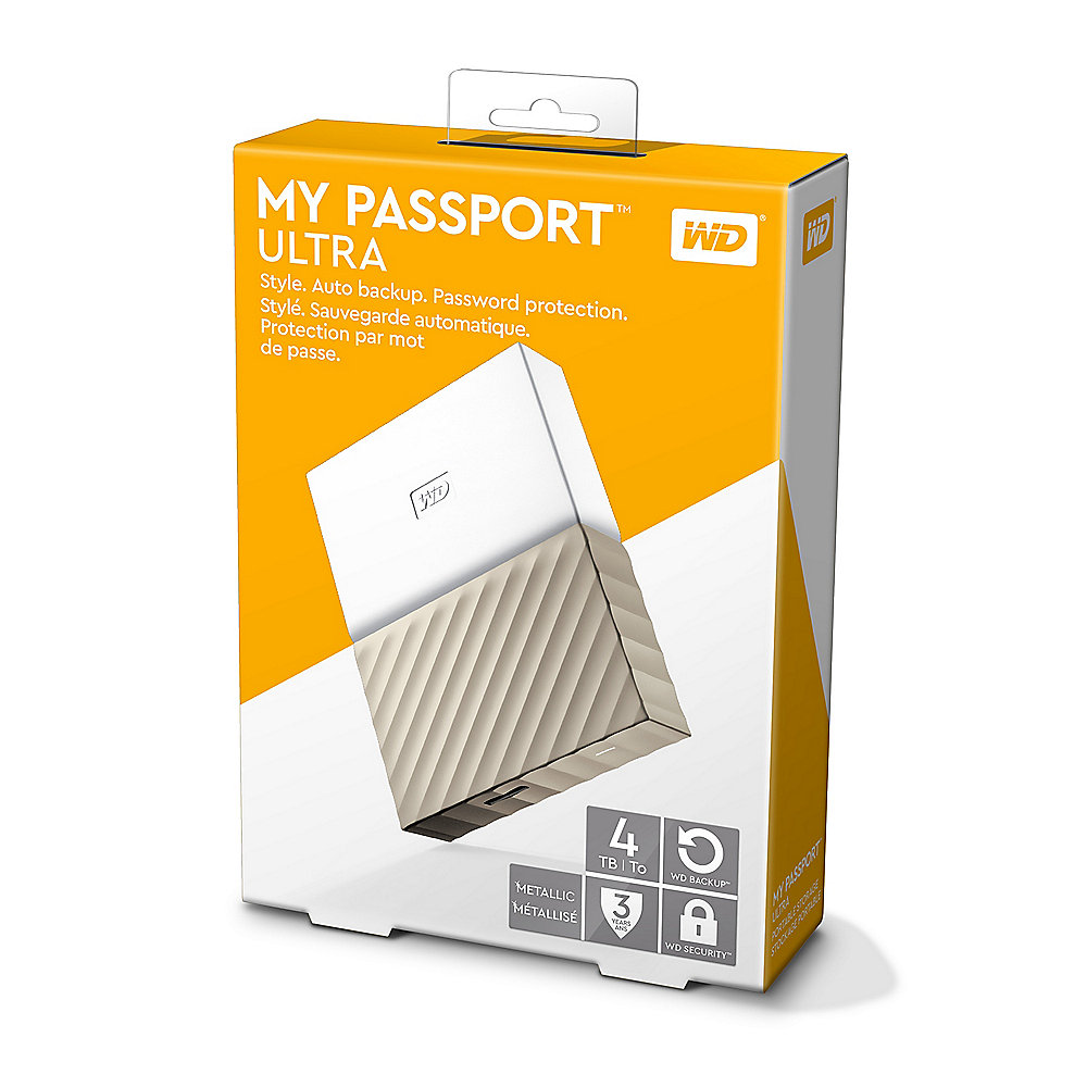 WD My Passport Ultra USB3.0 4TB 2.5zoll -Weiß/Gold