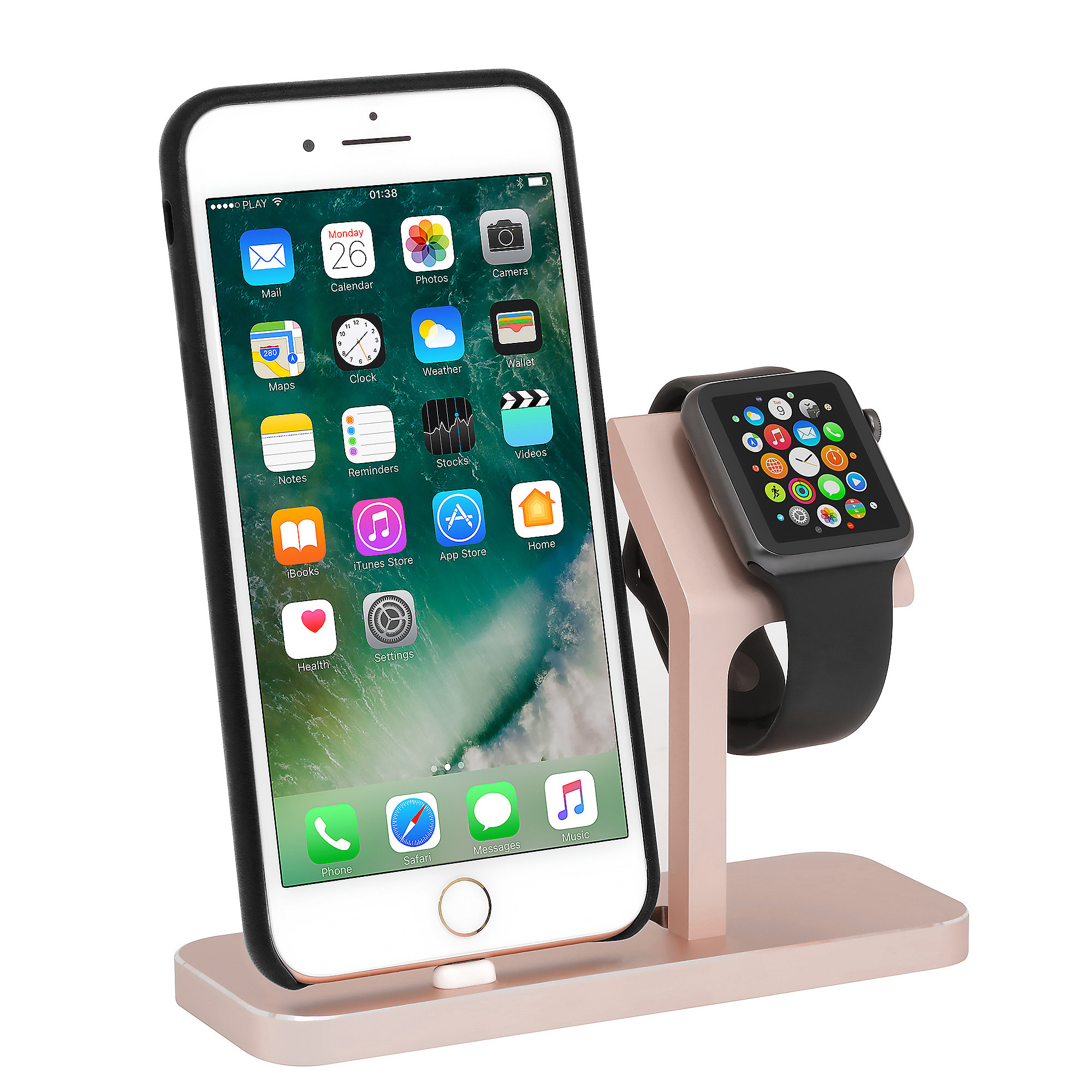StilGut TwinDock für iPhone und Watch roségold