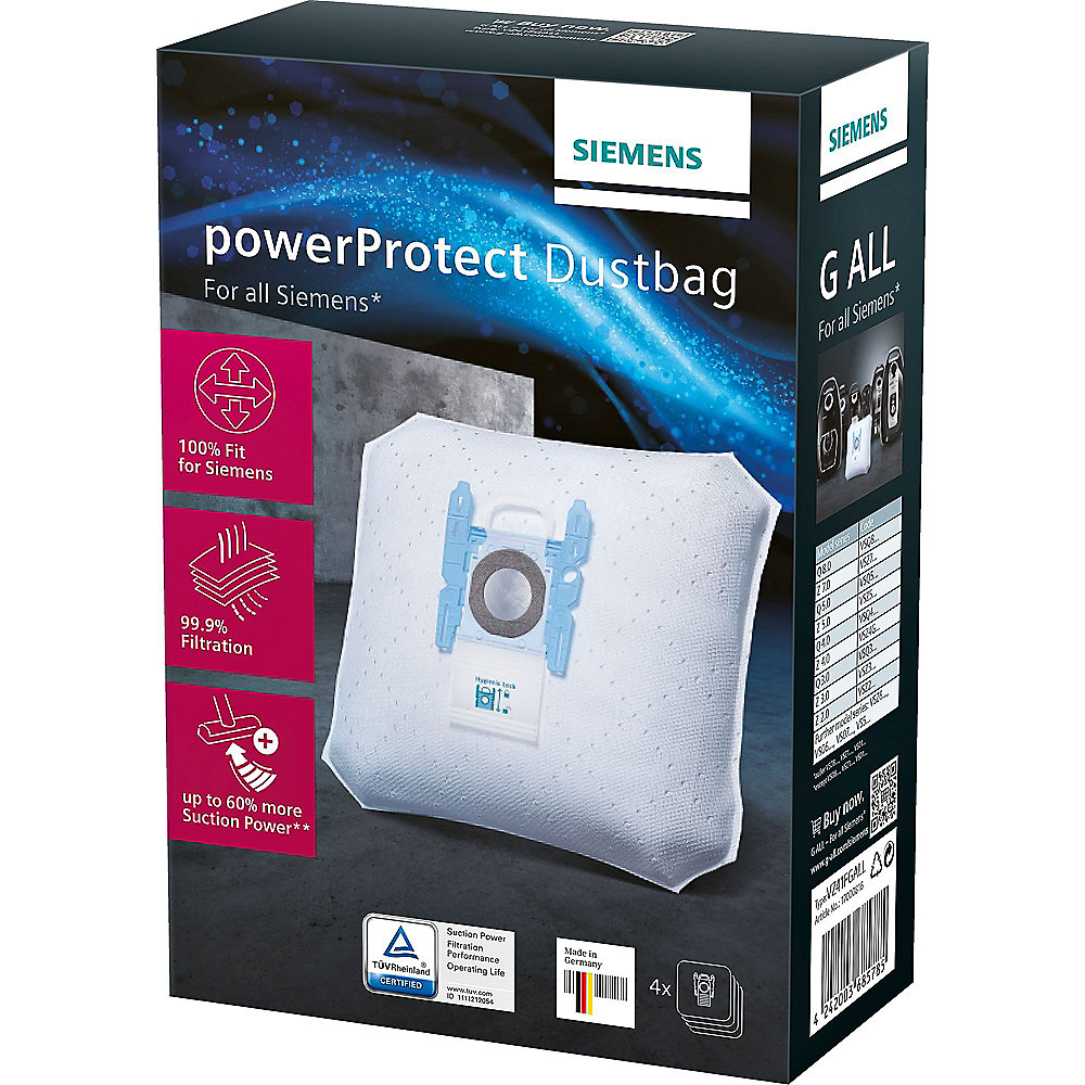 Siemens VZ41FGALL PowerProtect Typ G ALL Staubsaugerbeutel + Filter (4+1)