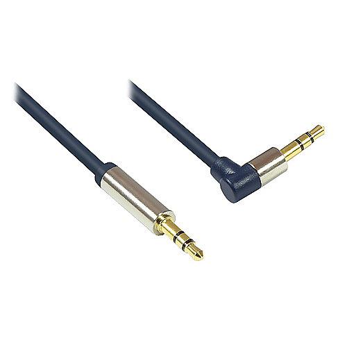3,5mm Klinkenkabel 3m Stecker zu Winkel Stecker dunkelblau | 4014619718559