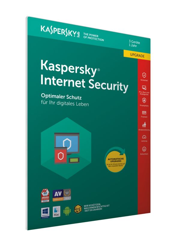 Kaspersky Internet Security 3 Geräte Upgrade (Code in a Box) FFP