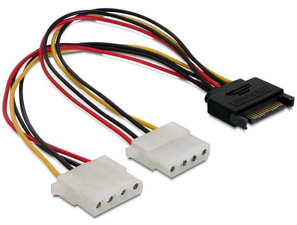DeLOCK Kabel Power SATA 15pin > 2x 4pin Molex Buchse 20cm 65159