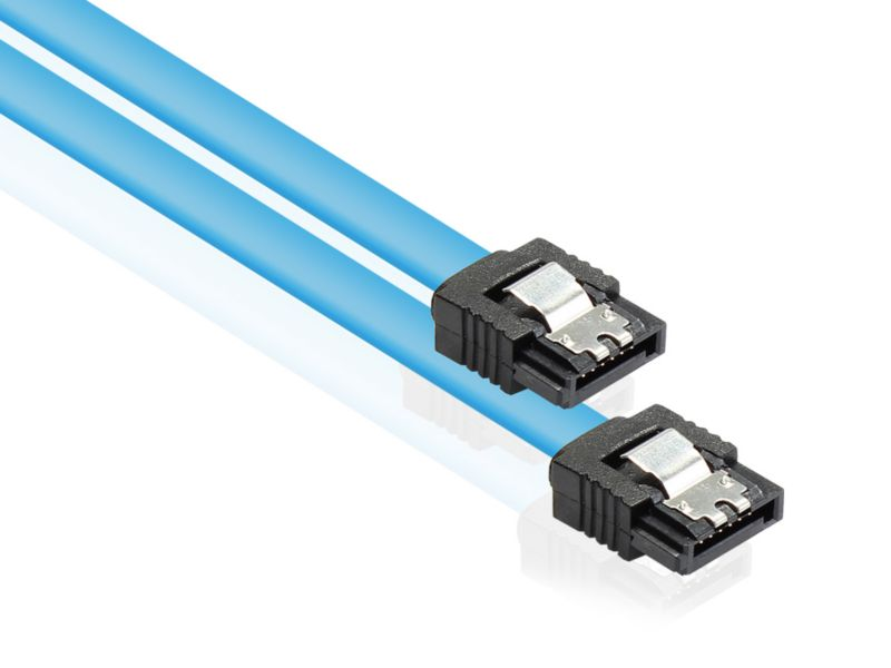 Good Connections 0,3m SATA 6Gb/s Anschlusskabel blau mit Metallclip