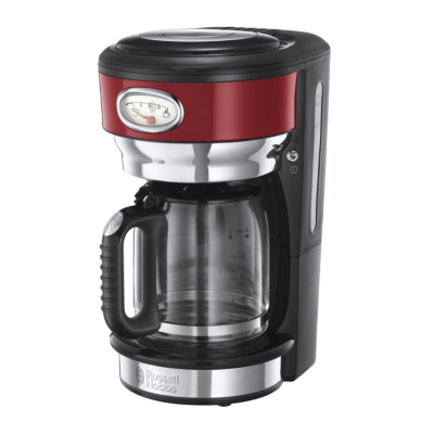 Russell Hobbs  21700-56 Retro Ribbon Red Glas-Kaffeemaschine | 4008496892570