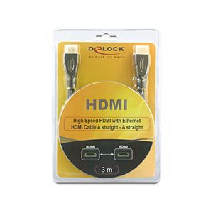 DeLOCK Premium HDMI High Speed with Ethernet Kabel 3m St./ St