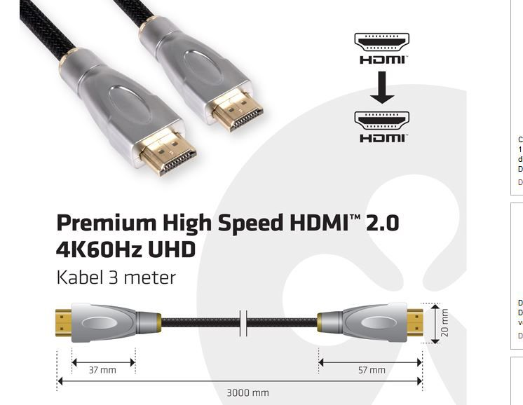 Club 3D Premium High Speed HDMI 2.0 4K60Hz UHD Kabel 3m
