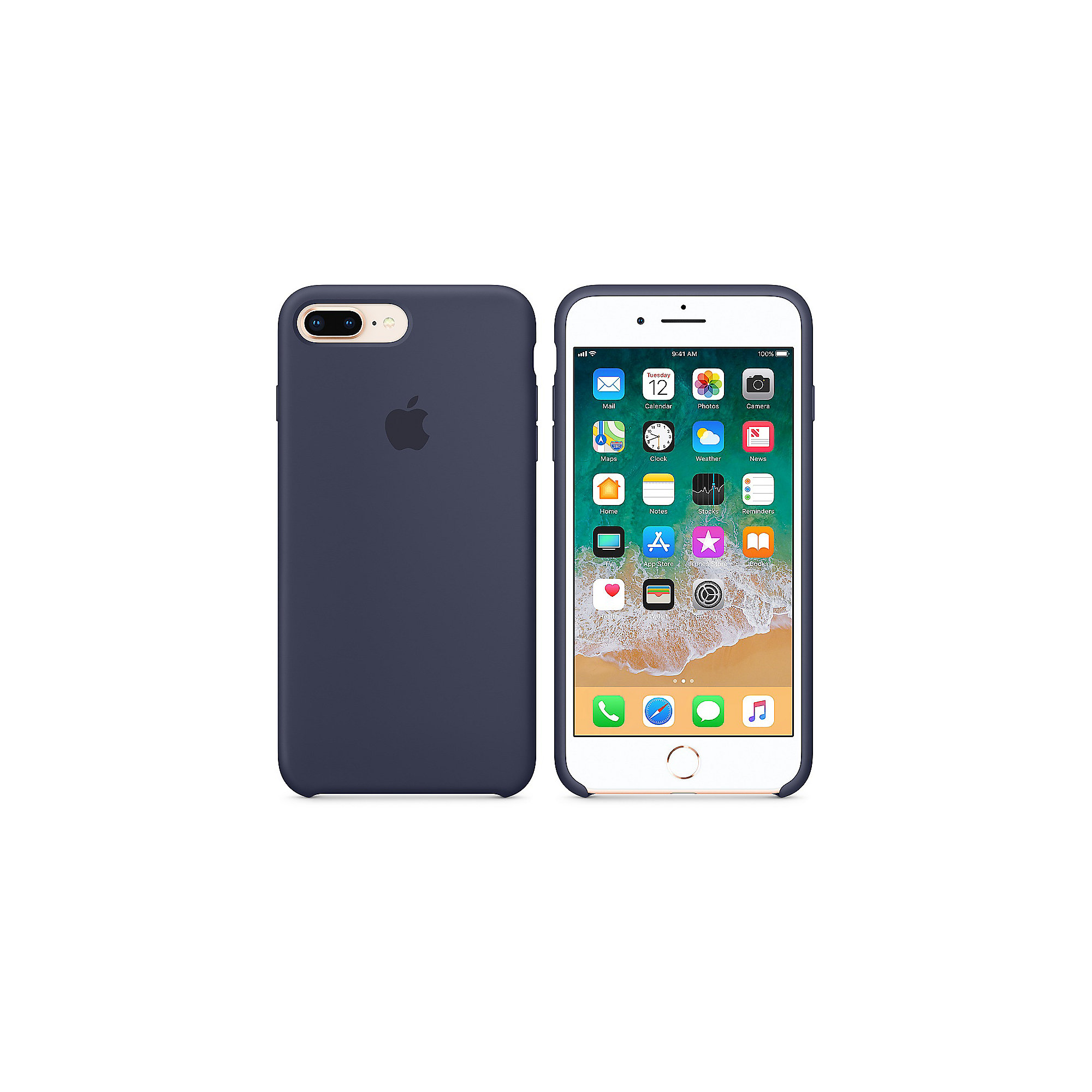 Apple Original iPhone 8 Plus Silikon Case-Mitternachtsblau