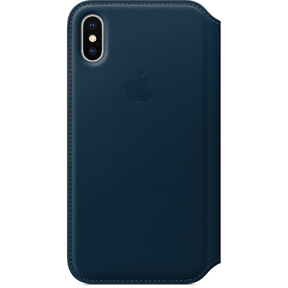 Apple Original iPhone X Leder Folio Case-Kosmosblau