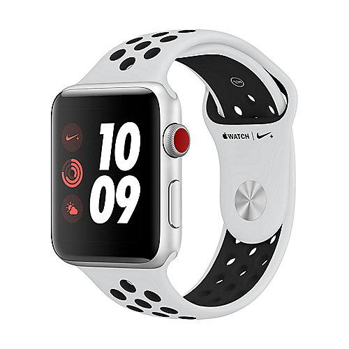 Apple Watch Nike LTE 42mm Aluminiumgehäuse Silber Sportarmband Platinum Schwarz