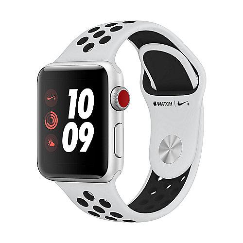 Apple Watch Nike LTE 38mm Aluminiumgehäuse Silber Sportarmband Platinum Schwarz
