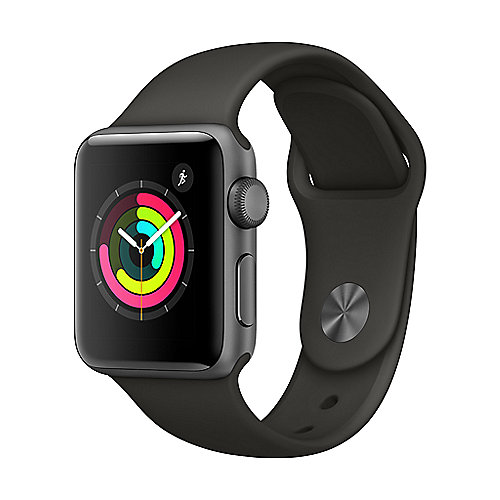Apple Watch Series 3 GPS 38mm Aluminiumgehäuse Space Grau Sportarmband Grau