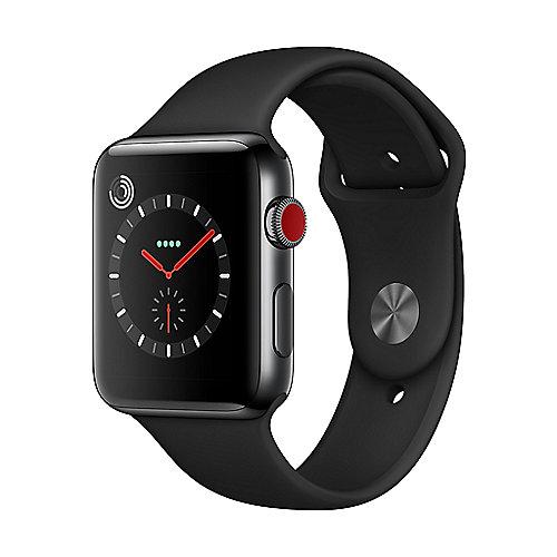Apple Watch Series 3 LTE 42mm Edelstahlgehäuse SpaceSchwarz Sportarmband Schwarz