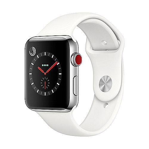 Apple Watch Series 3 LTE 42mm Edelstahlgehäuse mit Sportarmband Soft Weiß