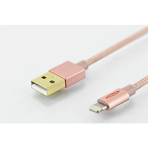 ednet iPhone 5/6 Lade- & Datenkabel USB2.0 USB-A auf Lightning-Stecker rose gold