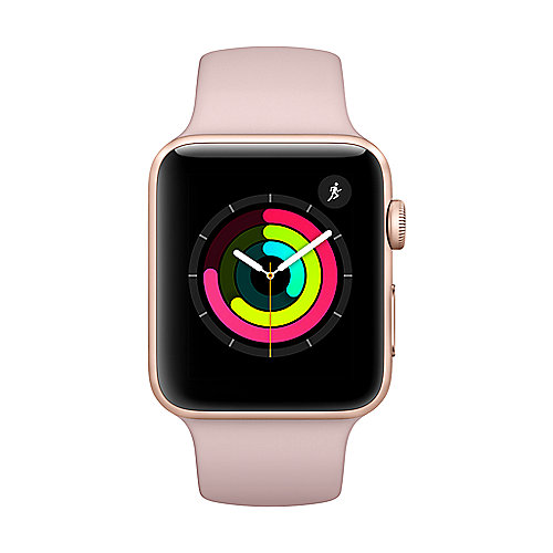 Apple Watch Series 3 GPS 42mm Aluminiumgehäuse Gold mit Sportarmband Sandrosa