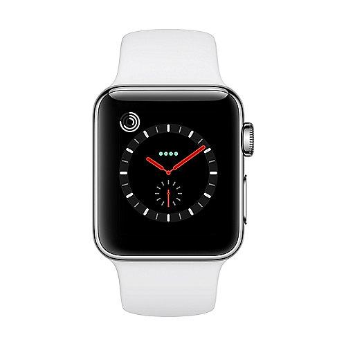 Apple Watch Series 3 LTE 38mm Edelstahlgehäuse mit Sportarmband Soft Weiß
