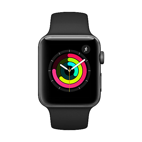 Apple Watch Series 3 GPS 42mm Aluminiumgehäuse Space Grau Sportarmband Schwarz