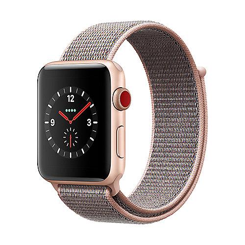 Apple Watch Series 3 LTE 42mm Aluminiumgehäuse Gold mit Sport Loop Sandrosa