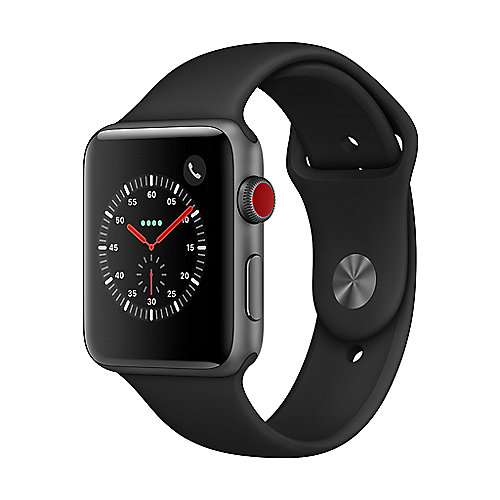 Apple Watch Series 3 LTE 42mm Aluminiumgehäuse Space Grau Sportarmband Schwarz