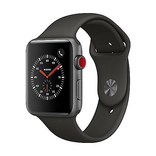 Apple Watch Series 3 LTE 42mm Aluminiumgehäuse Space Grau mit Sportarmband Grau