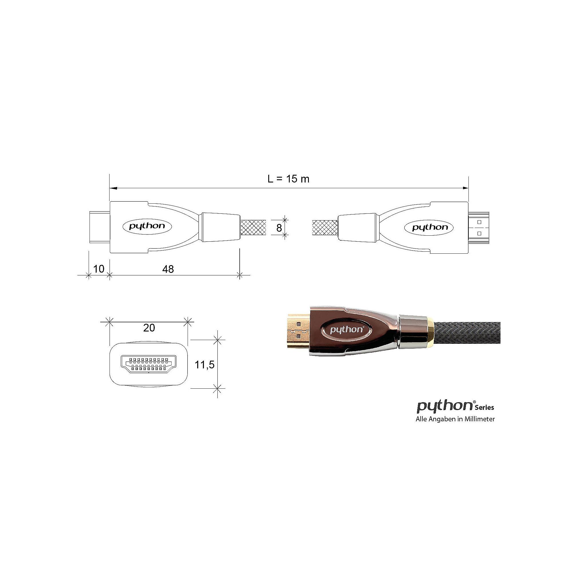 PYTHON HDMI 2.0 Kabel 15m Ethernet 4K*2K UHD aktiv vergoldet OFC ...