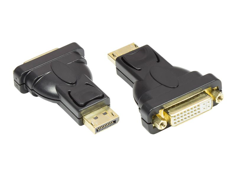 Good Connections DisplayPort St. zu DVI-I Bu. Adapter schwarz 24K vergoldet