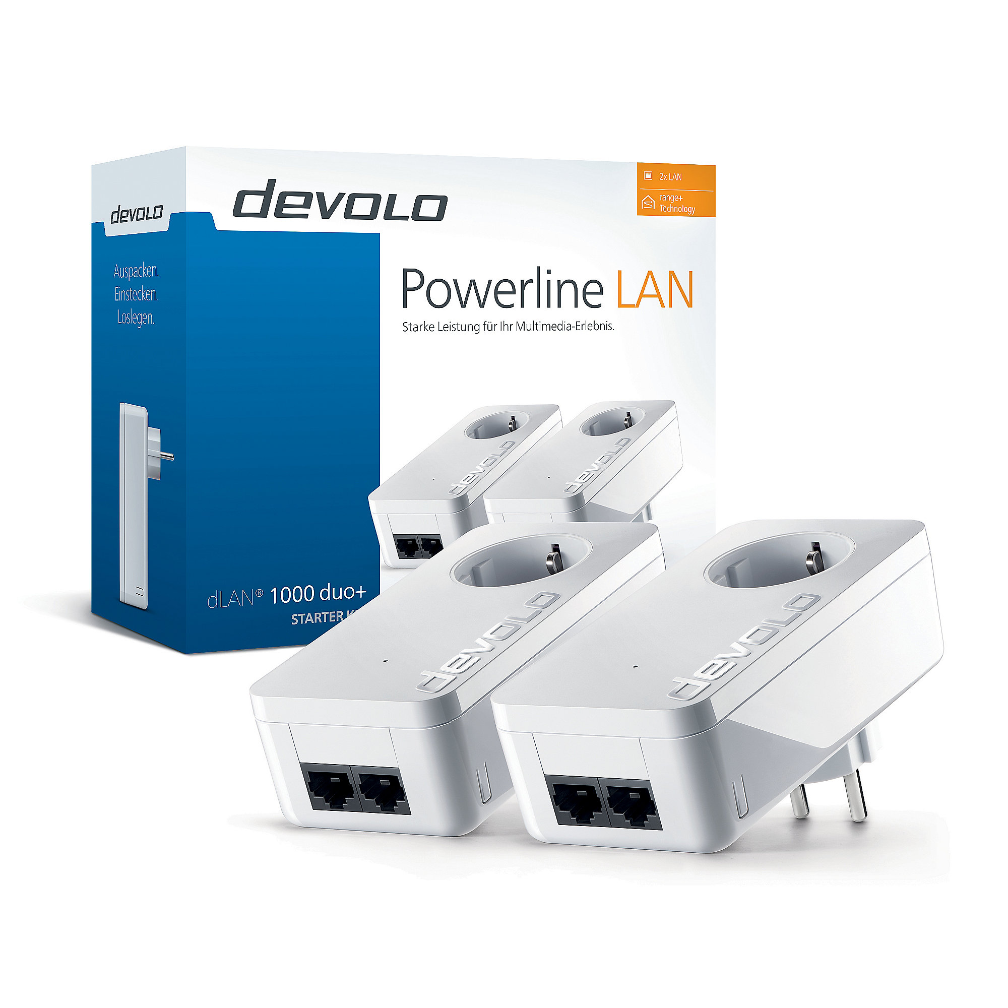 devolo dLAN 1000 duo+ Starter Kit (1200Mbit, 2x Powerline, 2xLAN, Steckdose)