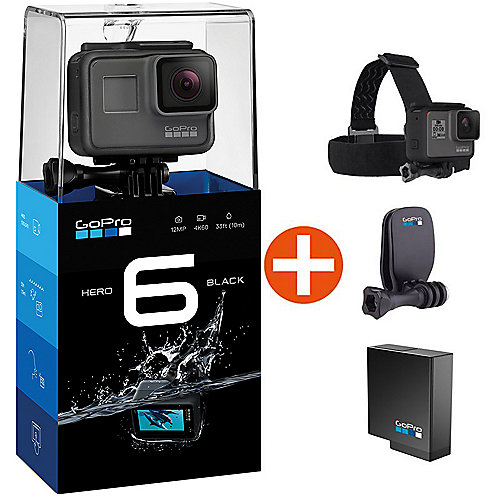 GoPro HERO6 Black Action Cam mit Kopfband und E...