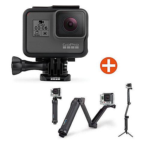 GoPro HERO6 Black Action Cam mit 3-Wege-Halterung