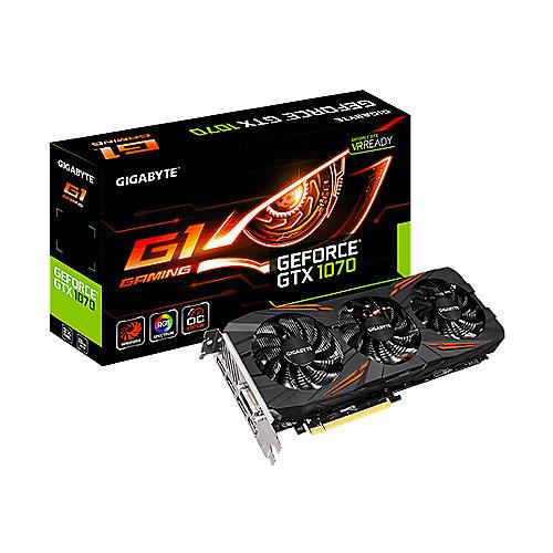 GeForce GTX 1070 G1 Gaming 8GB OC Rev2 GDDR5 Grafikkarte DVI/HDMI/3xDP | 4719331322199