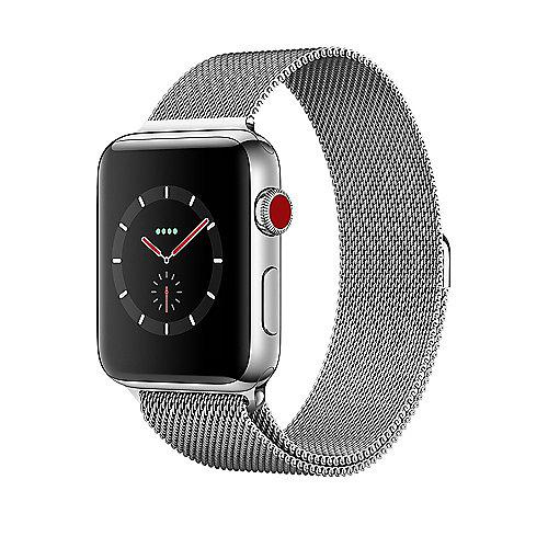 Apple Watch Series 3 LTE 42mm Edelstahlgehäuse Milanaise Silber