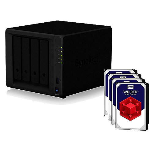 Synology Diskstation DS418 NAS 4-Bay 4TB inkl. 4x 1TB WD RED WD10EFRX