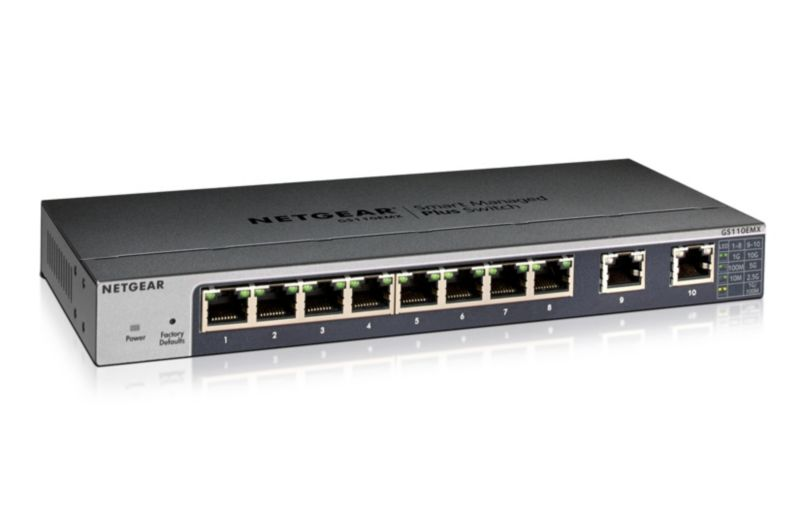 Netgear GS110EMX 8-Port Gigabit Switch Smart Managed Plus (+2x 10Gb Multi Gb)