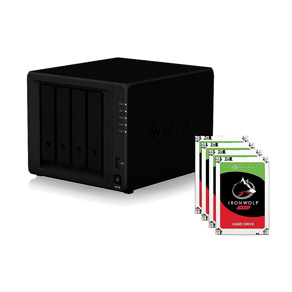 Synology DS418 NAS System 4-Bay 8TB inkl. 4x 2TB Seagate ST2000VN004