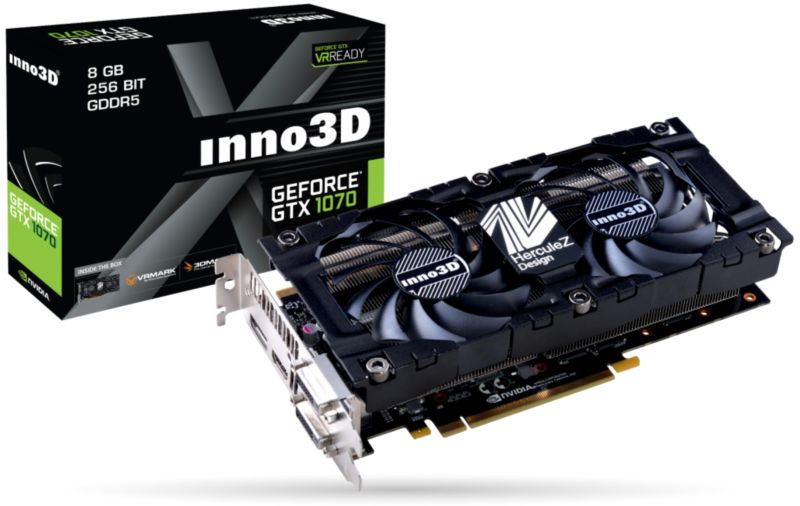 Inno3D GeForce GTX 1070 Twin X2 V3 8GB GDDR5 Grafikkarte 3xDP/DVI/HDMI