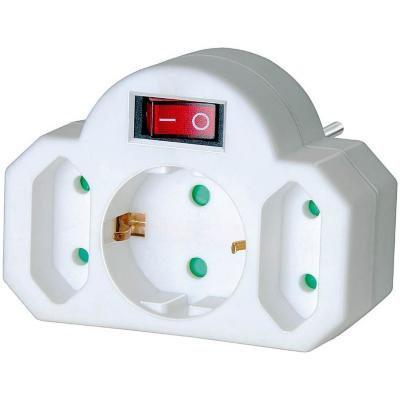 Brennenstuhl  Adapterstecker Euro 2 + Schutzkontakt 1 mit Schalter weiß | 4007123248186