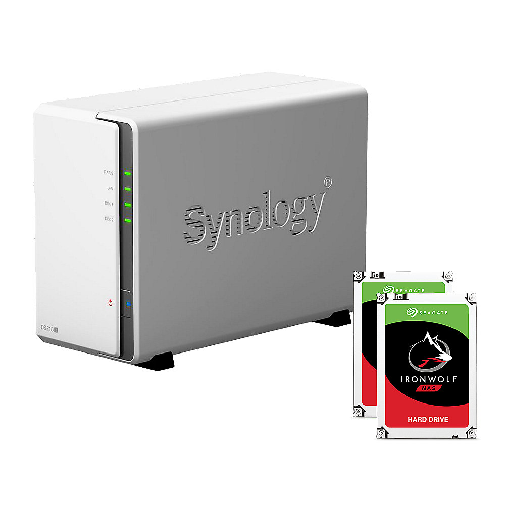 Synology DS218j NAS System 2-Bay 8TB inkl. 2x 4TB Seagate ST4000VN008