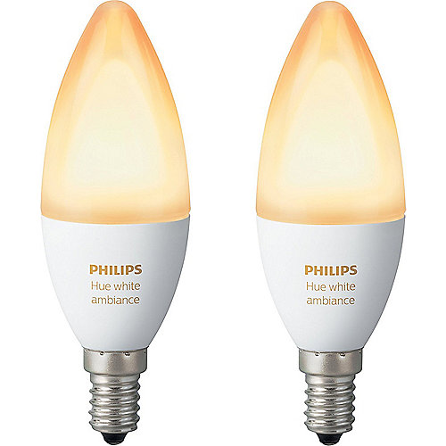 Philips Hue White Ambiance E14 LED Kerze Doppel...