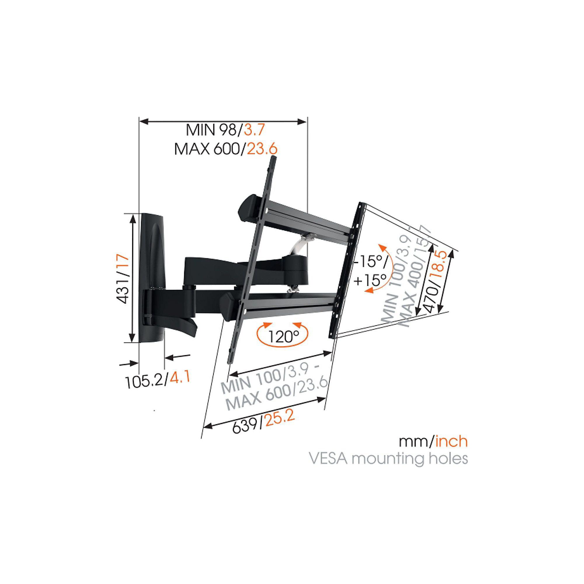 vogels wall 3350 wandhalterung vesa 200x200 bis 600x400 mm schwarz cyberport. Black Bedroom Furniture Sets. Home Design Ideas