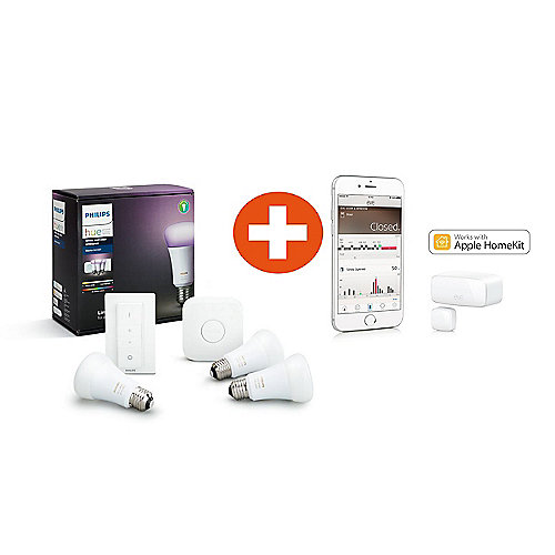Philips Hue White and Color Ambiance E27 Starter Set + Elgato Eve Door & Window