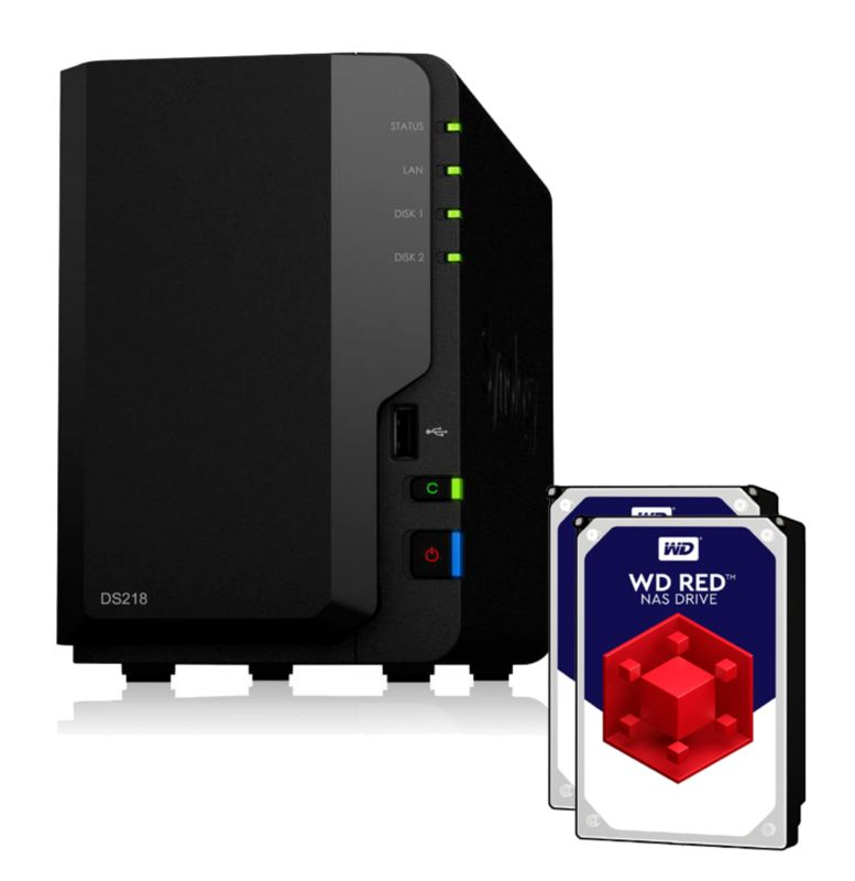 Synology Diskstation DS218 NAS 2-Bay 2TB inkl. 2x 1TB WD RED WD10EFRX