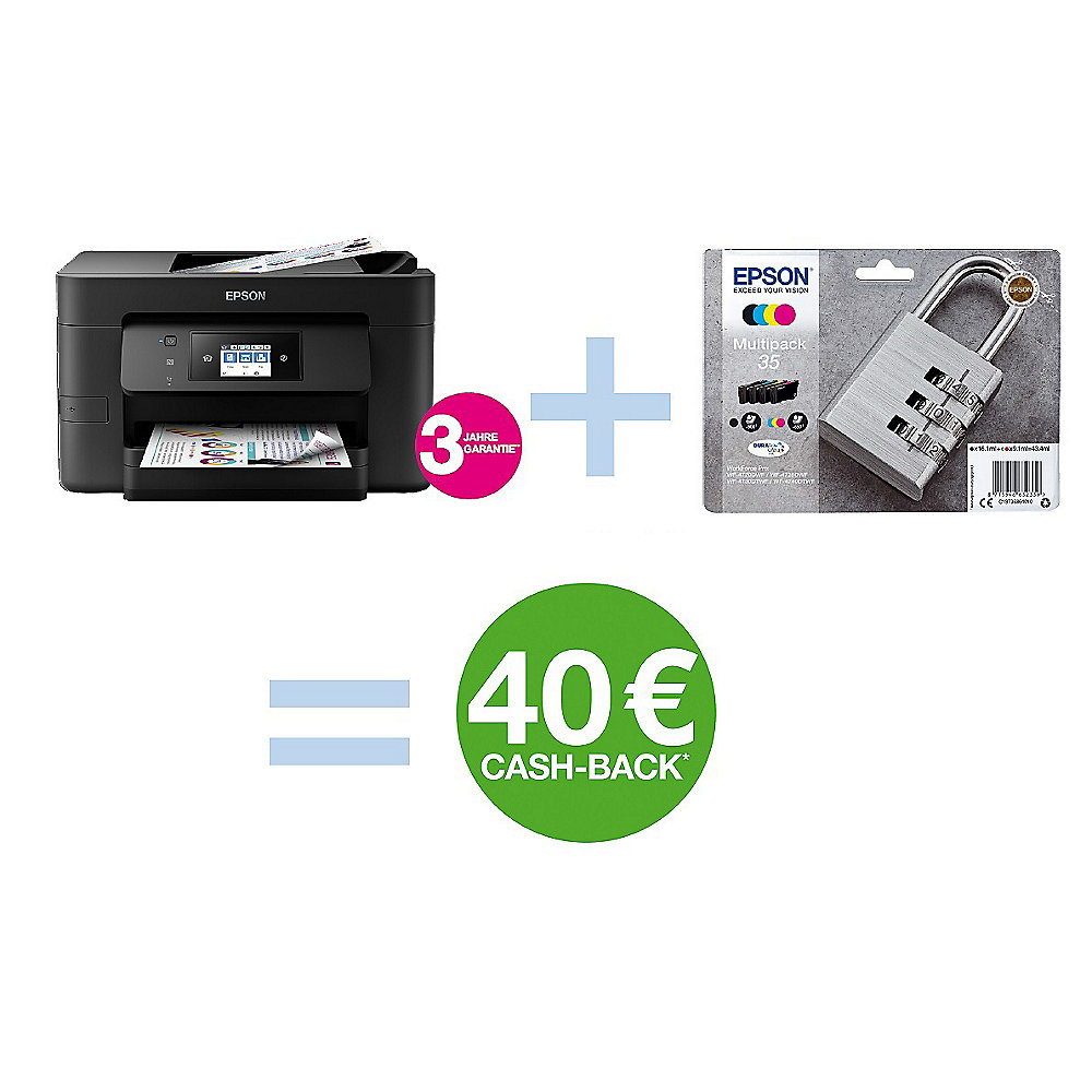 EPSON WorkForce Pro WF-4720DWF Multifunktionsdrucker + Multipack 35 + Cashback*
