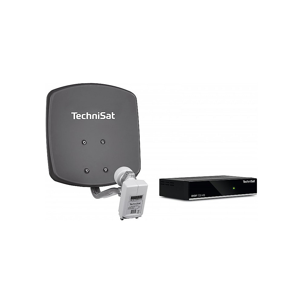 TechniSat DigiDish 33 grau Komplettanlage (Twin) inkl. DIGIT S3 HD, 10 m Kabel