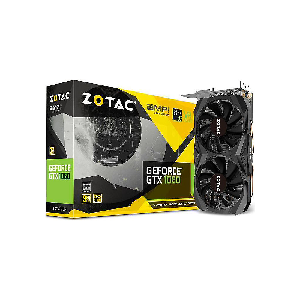 Zotac GeForce GTX 1060 AMP! Core Edition 3GB GDDR5 Grafikkarte DVI/HDMI/3xDP